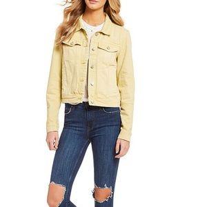 Free People Rumors Yellow Distressed Denim Jacket